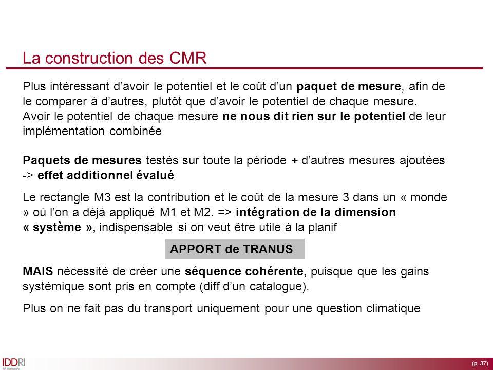 (p. 37) La construction des CMR Plus intéressant davoir le potentiel et le coût dun paquet de mesure, afin de le comparer à dautres, plutôt que davoir