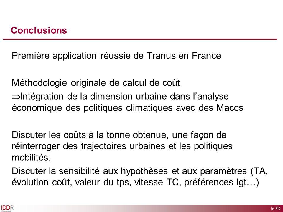 (p. 45) Conclusions Première application réussie de Tranus en France Méthodologie originale de calcul de coût Intégration de la dimension urbaine dans