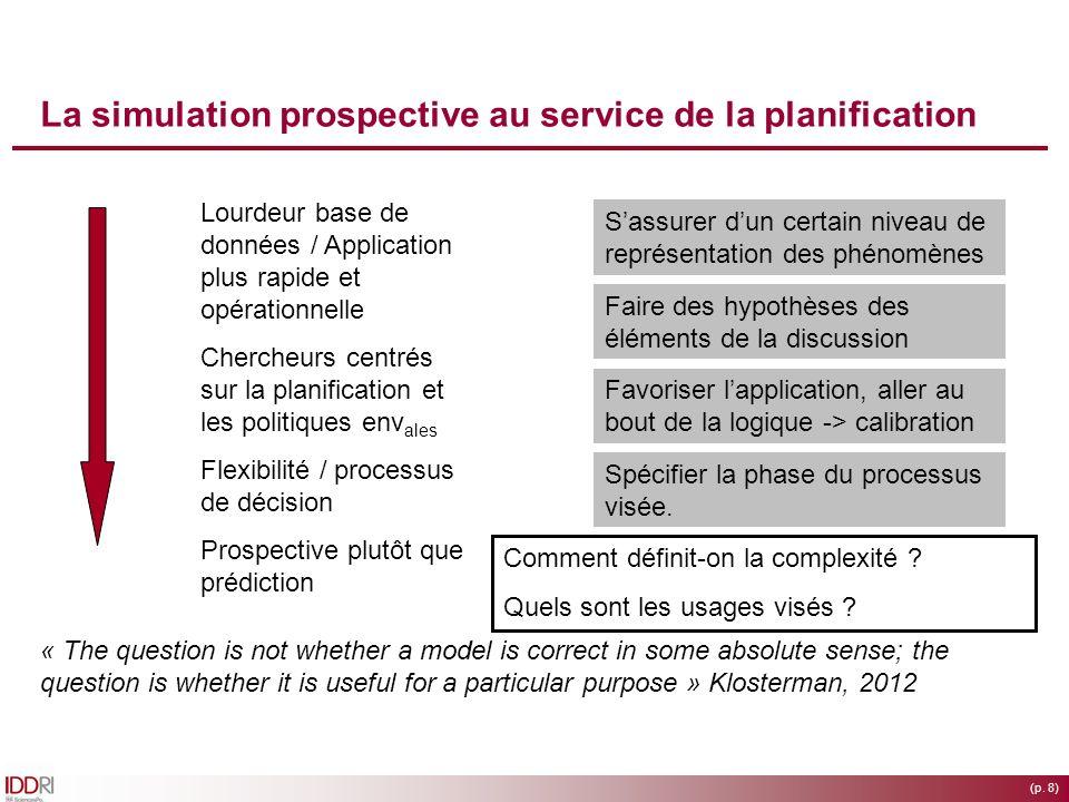 (p. 8) La simulation prospective au service de la planification Lourdeur base de données / Application plus rapide et opérationnelle Chercheurs centré