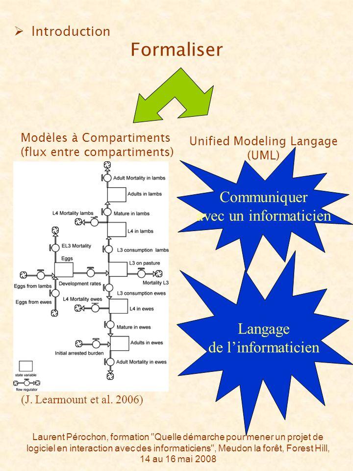Laurent Pérochon, formation Quelle démarche pour mener un projet de logiciel en interaction avec des informaticiens , Meudon la forêt, Forest Hill, 14 au 16 mai 2008 Introduction Formaliser (J.