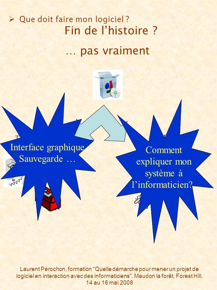 Laurent Pérochon, formation Quelle démarche pour mener un projet de logiciel en interaction avec des informaticiens , Meudon la forêt, Forest Hill, 14 au 16 mai 2008 Que doit faire mon logiciel .