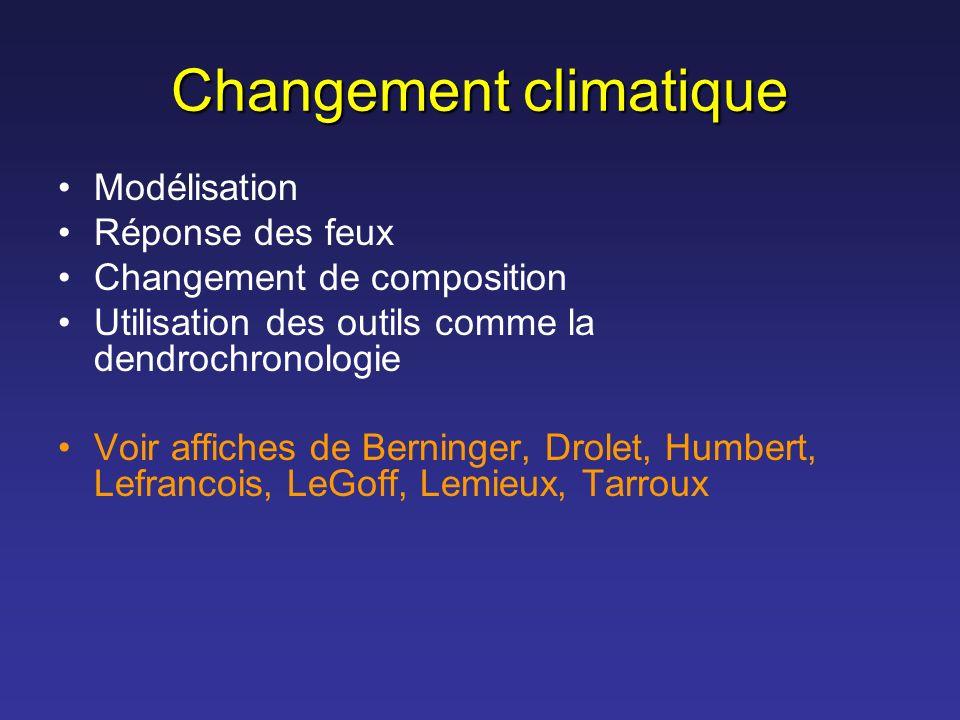 Changement climatique Modélisation Réponse des feux Changement de composition Utilisation des outils comme la dendrochronologie Voir affiches de Berni
