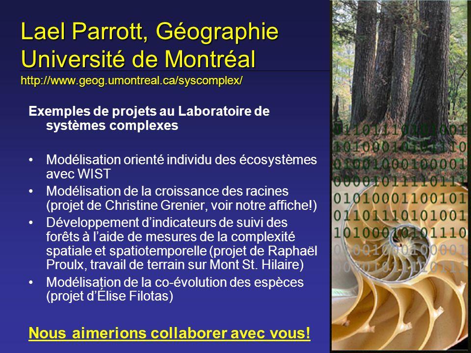 Lael Parrott, Géographie Université de Montréal http://www.geog.umontreal.ca/syscomplex/ Exemples de projets au Laboratoire de systèmes complexes Modé