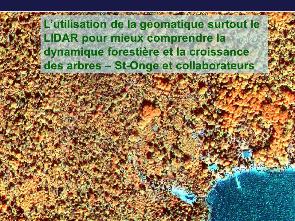 Lutilisation de la géomatique surtout le LIDAR pour mieux comprendre la dynamique forestière et la croissance des arbres – St-Onge et collaborateurs