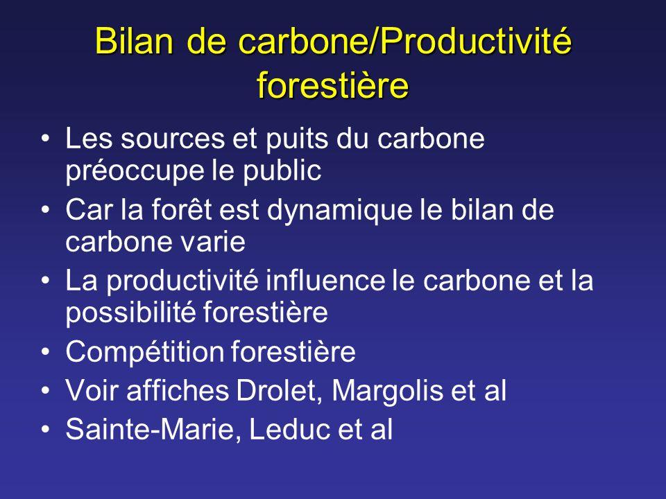 Bilan de carbone/Productivité forestière Les sources et puits du carbone préoccupe le public Car la forêt est dynamique le bilan de carbone varie La p