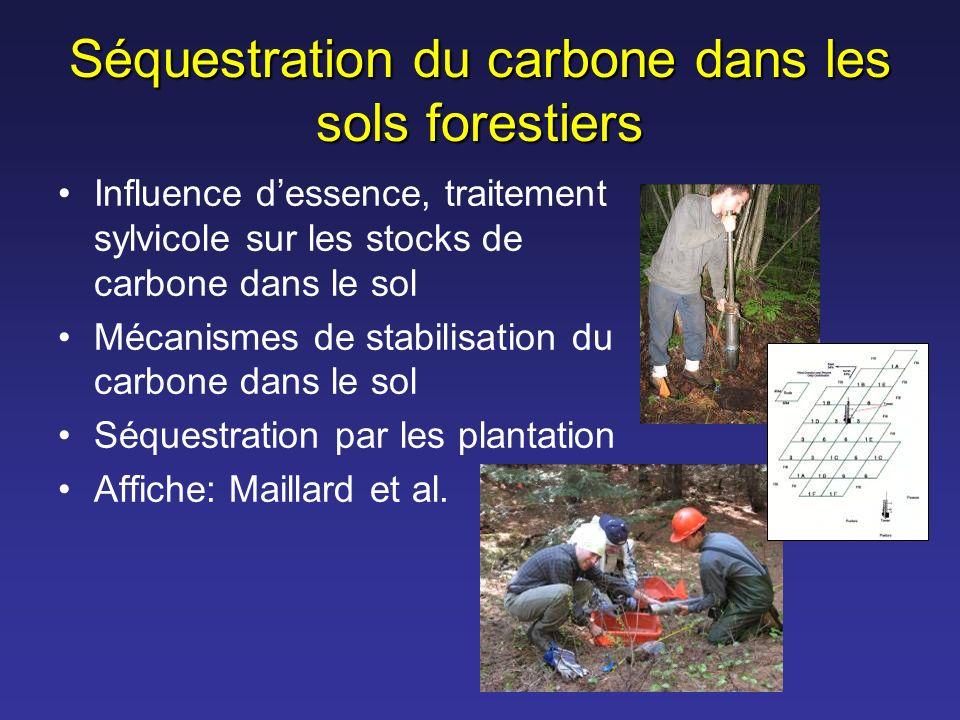 Séquestration du carbone dans les sols forestiers Influence dessence, traitement sylvicole sur les stocks de carbone dans le sol Mécanismes de stabili