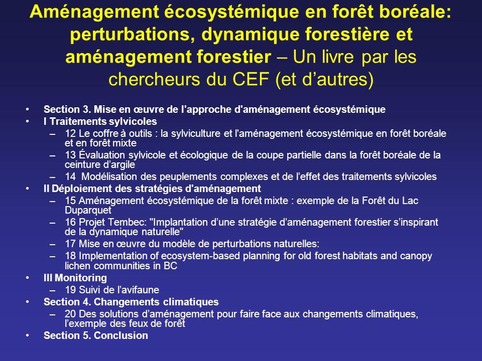 Aménagement écosystémique en forêt boréale: perturbations, dynamique forestière et aménagement forestier – Un livre par les chercheurs du CEF (et daut
