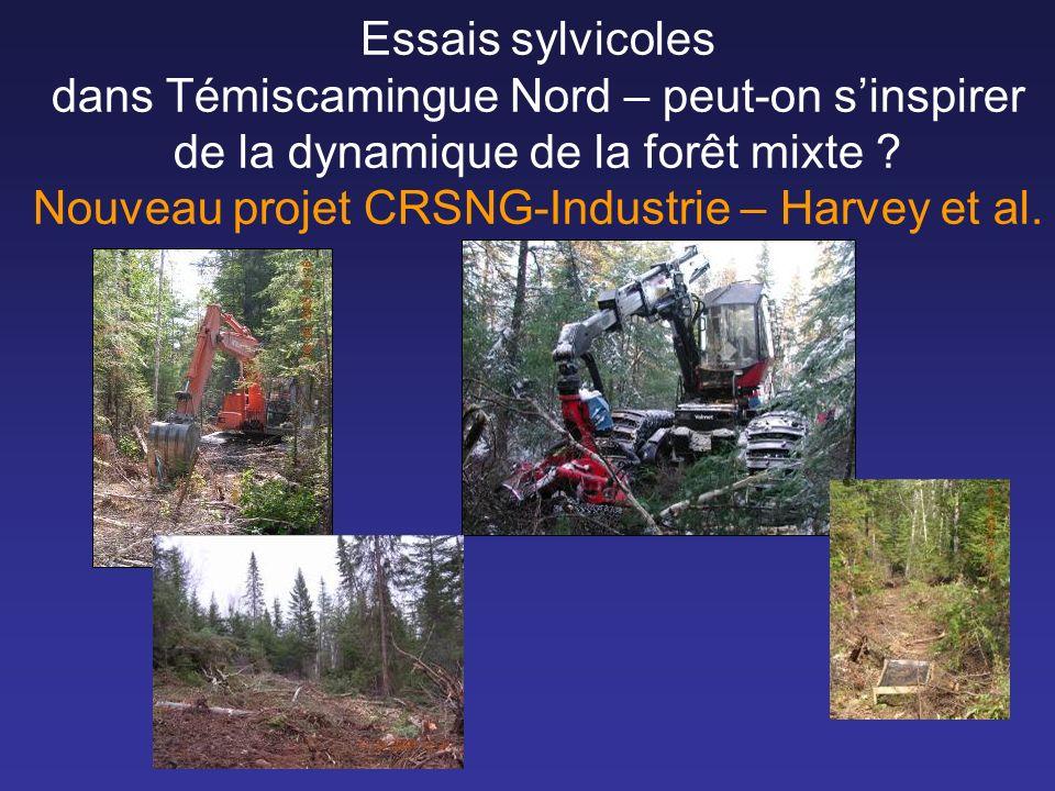 Essais sylvicoles dans Témiscamingue Nord – peut-on sinspirer de la dynamique de la forêt mixte ? Nouveau projet CRSNG-Industrie – Harvey et al.