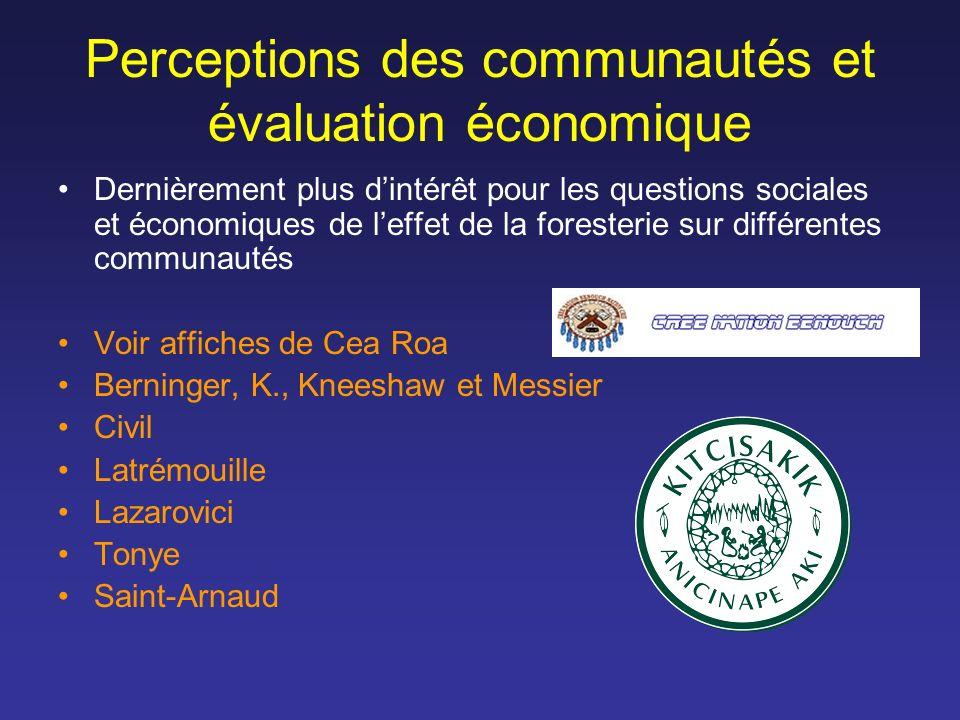 Perceptions des communautés et évaluation économique Dernièrement plus dintérêt pour les questions sociales et économiques de leffet de la foresterie