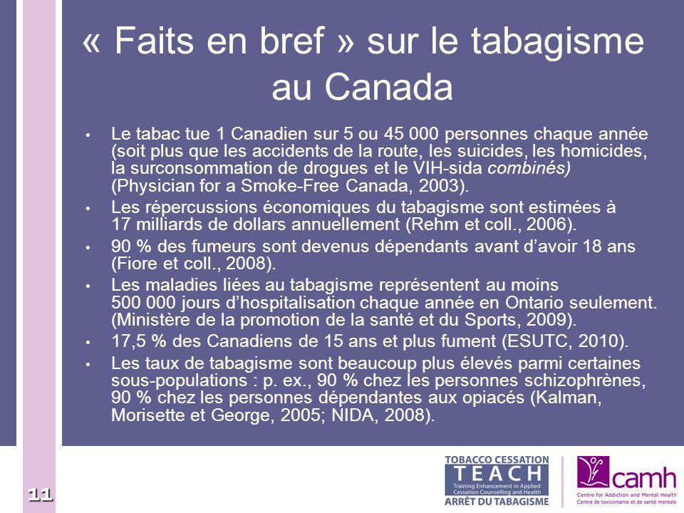 11 « Faits en bref » sur le tabagisme au Canada Le tabac tue 1 Canadien sur 5 ou 45 000 personnes chaque année (soit plus que les accidents de la rout