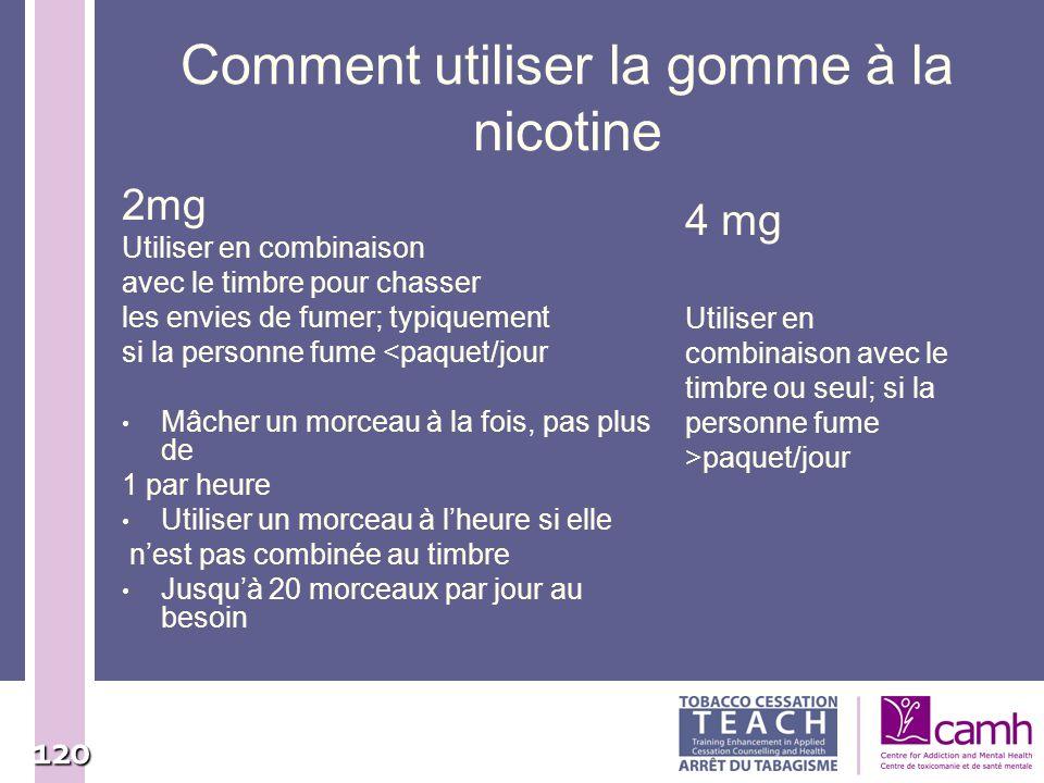 120 Comment utiliser la gomme à la nicotine 2mg Utiliser en combinaison avec le timbre pour chasser les envies de fumer; typiquement si la personne fu