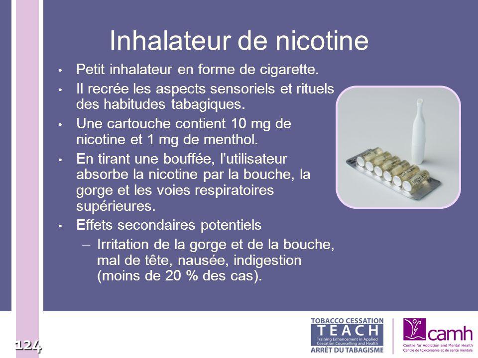 124 Inhalateur de nicotine Petit inhalateur en forme de cigarette. Il recrée les aspects sensoriels et rituels des habitudes tabagiques. Une cartouche