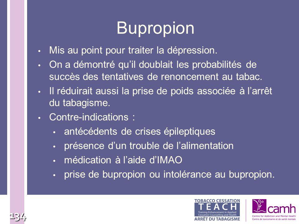 134 Bupropion Mis au point pour traiter la dépression. On a démontré quil doublait les probabilités de succès des tentatives de renoncement au tabac.