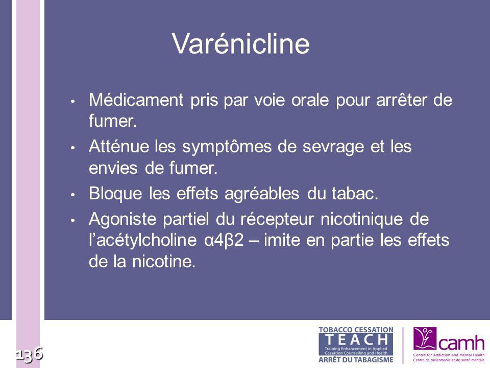 136 Varénicline Médicament pris par voie orale pour arrêter de fumer. Atténue les symptômes de sevrage et les envies de fumer. Bloque les effets agréa