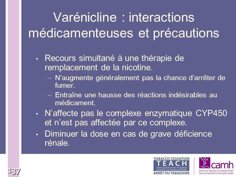 137 Varénicline : interactions médicamenteuses et précautions Recours simultané à une thérapie de remplacement de la nicotine. – Naugmente généralemen