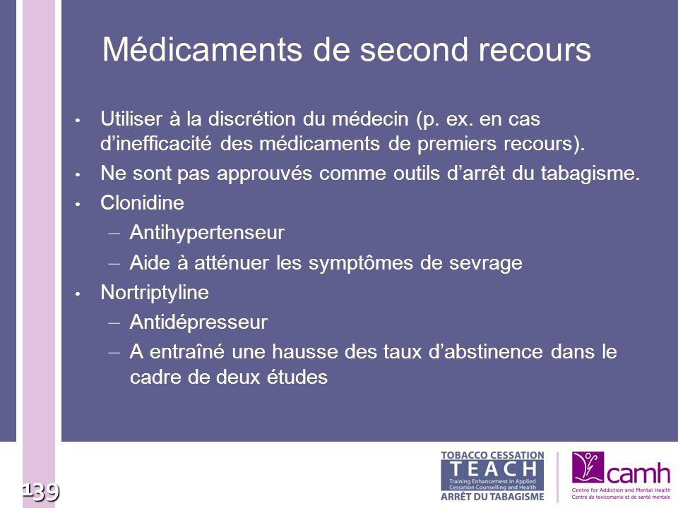 139 Médicaments de second recours Utiliser à la discrétion du médecin (p. ex. en cas dinefficacité des médicaments de premiers recours). Ne sont pas a
