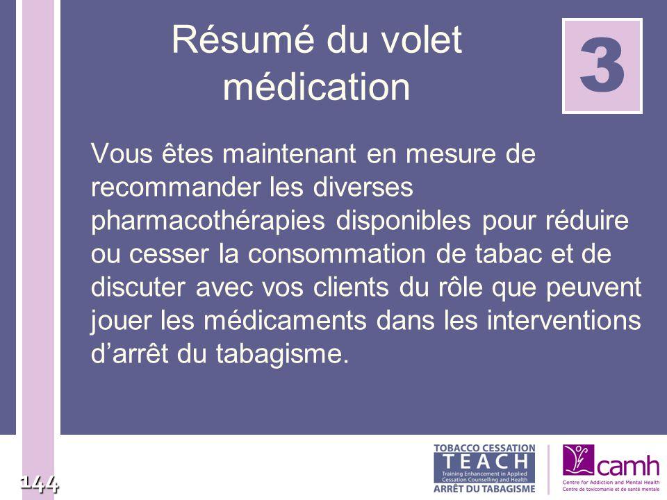 144 Résumé du volet médication Vous êtes maintenant en mesure de recommander les diverses pharmacothérapies disponibles pour réduire ou cesser la cons