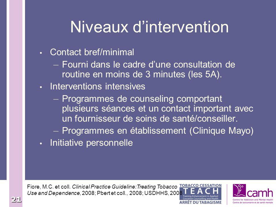 21 Niveaux dintervention Contact bref/minimal – Fourni dans le cadre dune consultation de routine en moins de 3 minutes (les 5A). Interventions intens