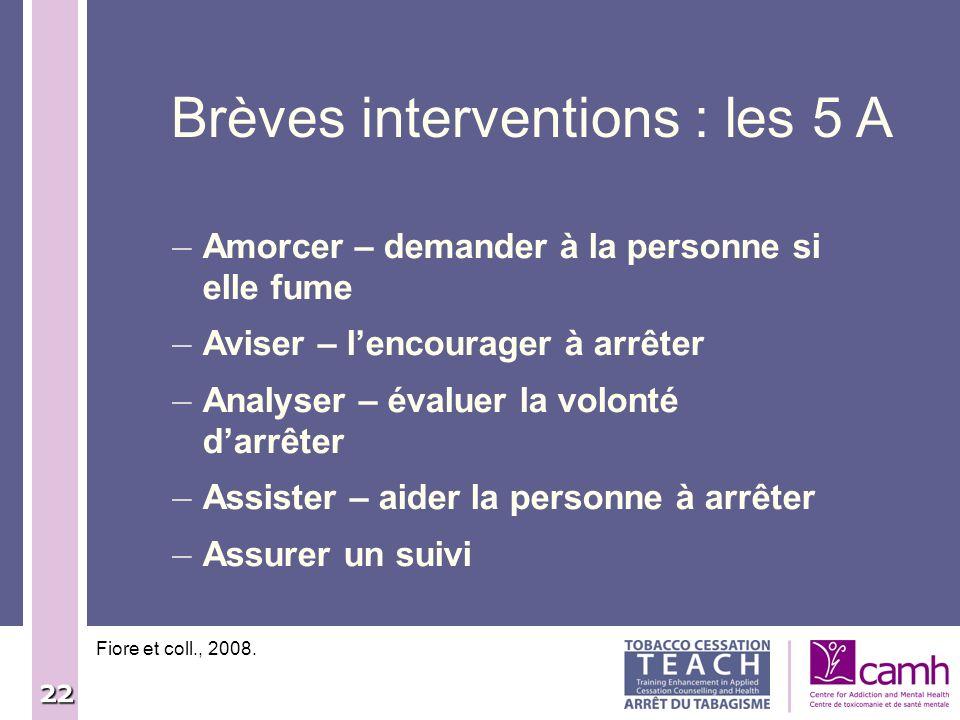 22 Brèves interventions : les 5 A Fiore et coll., 2008. – Amorcer – demander à la personne si elle fume – Aviser – lencourager à arrêter – Analyser –