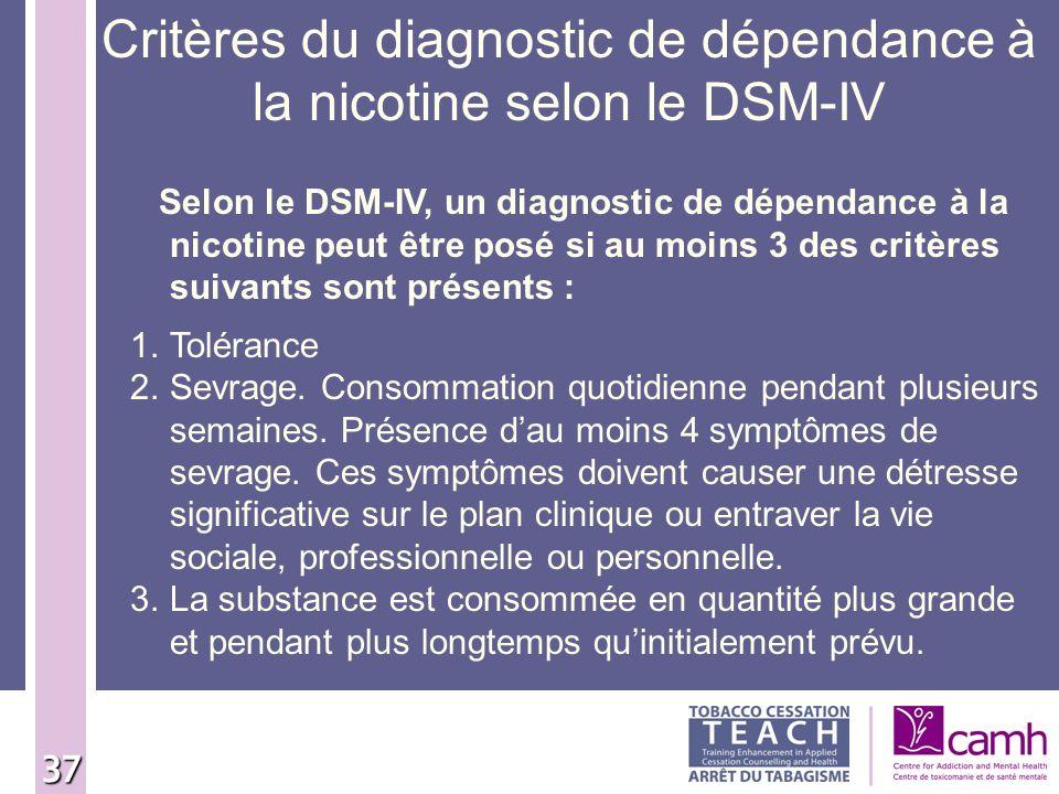 37 Critères du diagnostic de dépendance à la nicotine selon le DSM-IV Selon le DSM-IV, un diagnostic de dépendance à la nicotine peut être posé si au