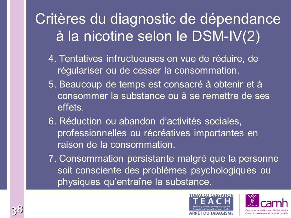 38 Critères du diagnostic de dépendance à la nicotine selon le DSM-IV(2) 4. Tentatives infructueuses en vue de réduire, de régulariser ou de cesser la