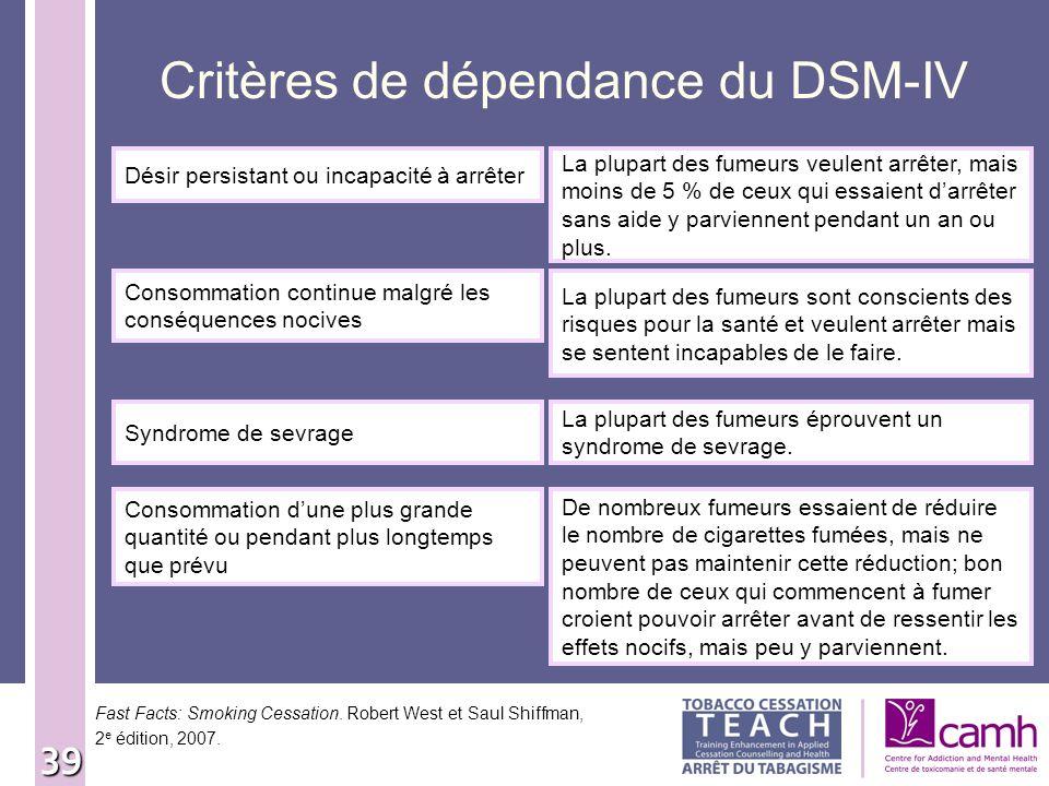 39 Critères de dépendance du DSM-IV Désir persistant ou incapacité à arrêter La plupart des fumeurs veulent arrêter, mais moins de 5 % de ceux qui ess
