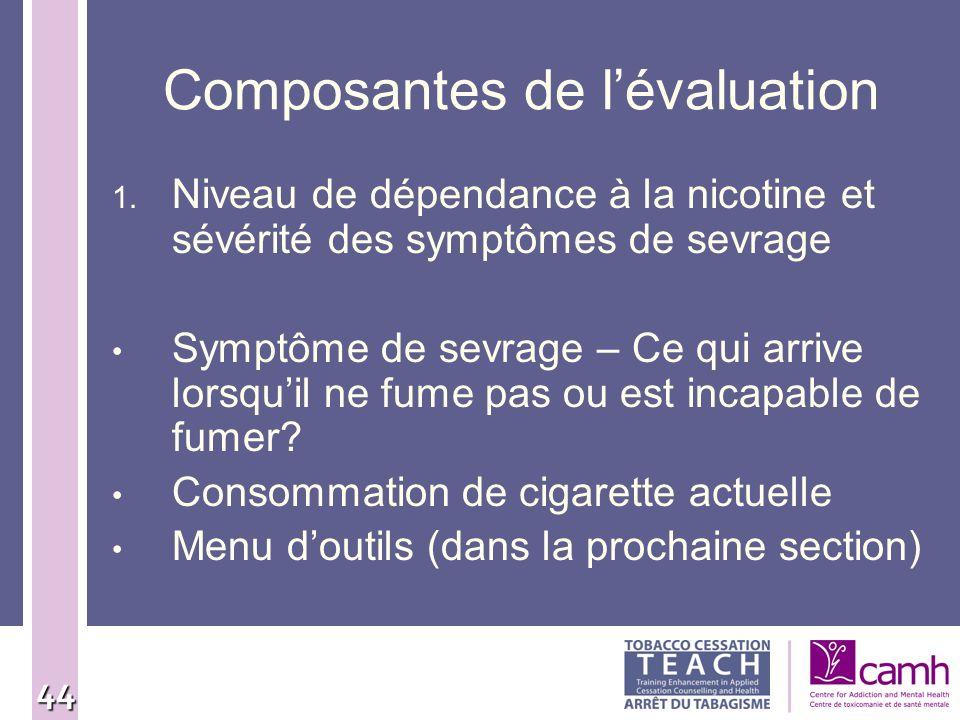 44 Composantes de lévaluation 1. Niveau de dépendance à la nicotine et sévérité des symptômes de sevrage Symptôme de sevrage – Ce qui arrive lorsquil