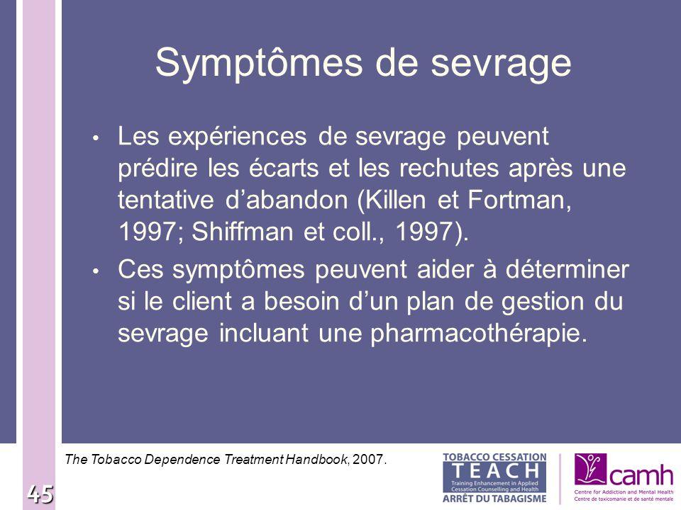 45 Symptômes de sevrage Les expériences de sevrage peuvent prédire les écarts et les rechutes après une tentative dabandon (Killen et Fortman, 1997; S