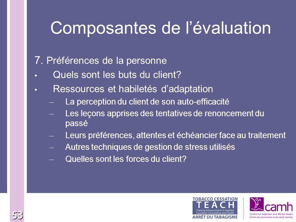 53 Composantes de lévaluation 7. Préférences de la personne Quels sont les buts du client? Ressources et habiletés dadaptation – La perception du clie
