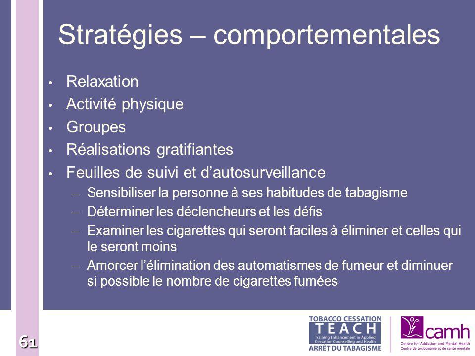 61 Stratégies – comportementales Relaxation Activité physique Groupes Réalisations gratifiantes Feuilles de suivi et dautosurveillance – Sensibiliser