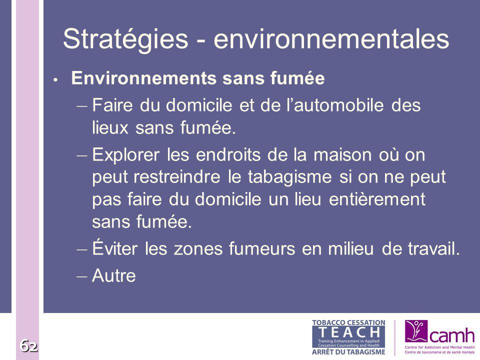 62 Stratégies - environnementales Environnements sans fumée – Faire du domicile et de lautomobile des lieux sans fumée. – Explorer les endroits de la