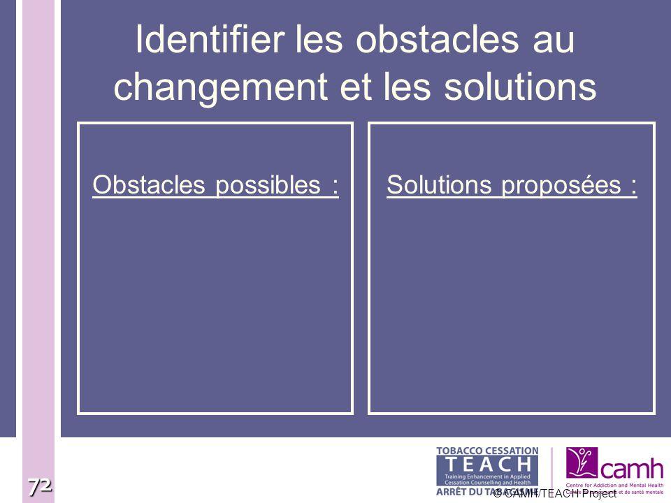72 Identifier les obstacles au changement et les solutions Obstacles possibles :Solutions proposées : © CAMH/TEACH Project