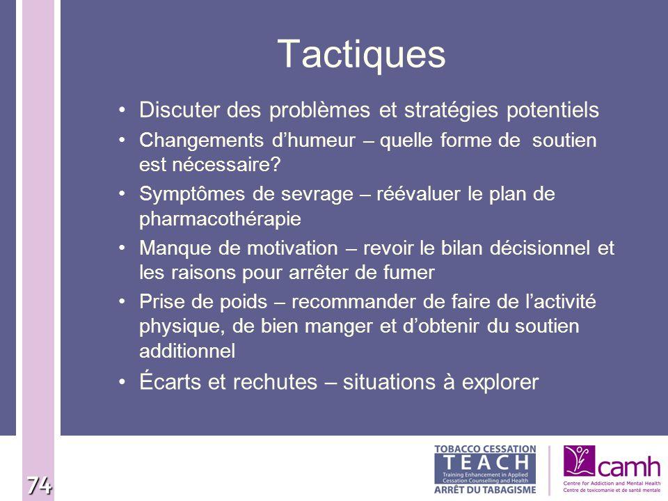 74 Tactiques Discuter des problèmes et stratégies potentiels Changements dhumeur – quelle forme de soutien est nécessaire? Symptômes de sevrage – réév