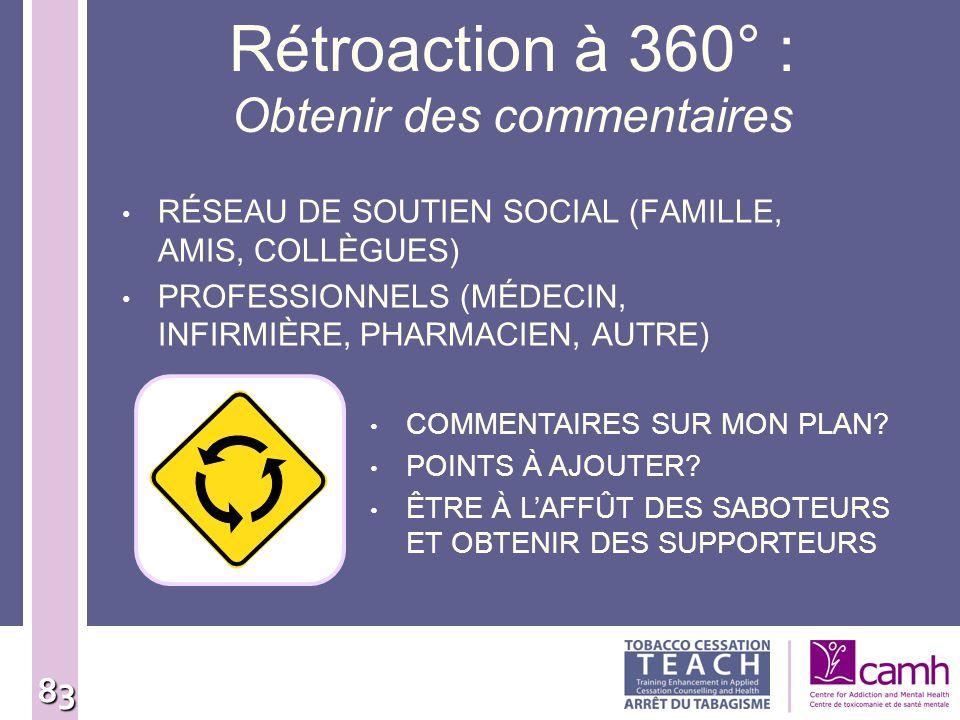 83 Rétroaction à 360° : Obtenir des commentaires RÉSEAU DE SOUTIEN SOCIAL (FAMILLE, AMIS, COLLÈGUES) PROFESSIONNELS (MÉDECIN, INFIRMIÈRE, PHARMACIEN,