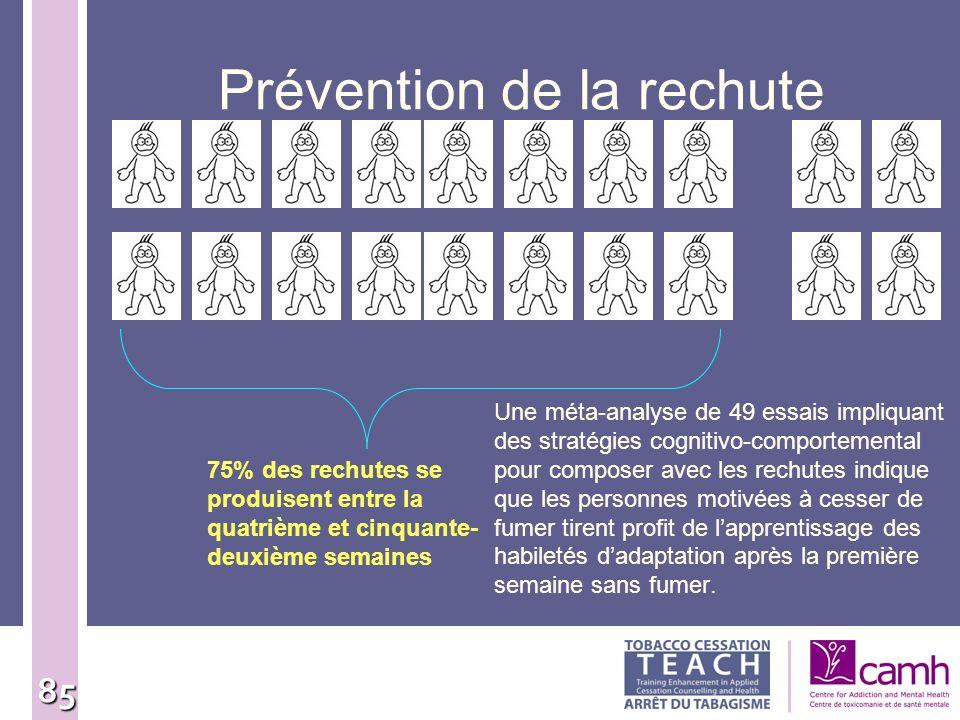 85 Prévention de la rechute Une méta-analyse de 49 essais impliquant des stratégies cognitivo-comportemental pour composer avec les rechutes indique q
