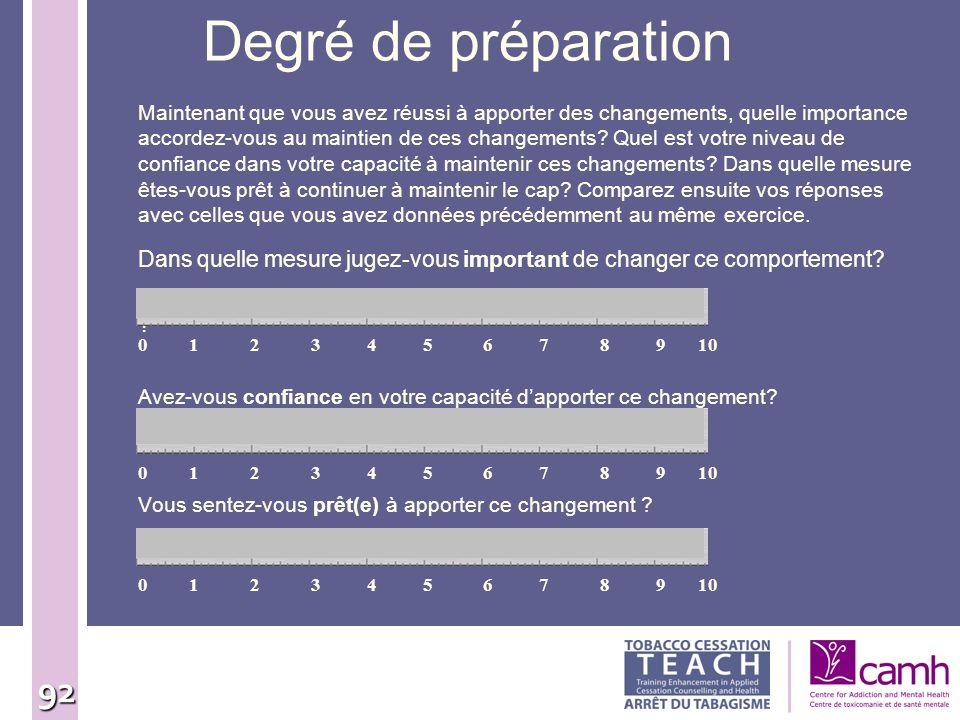 92 Degré de préparation Dans quelle mesure jugez-vous important de changer ce comportement? ? Avez-vous confiance en votre capacité dapporter ce chang