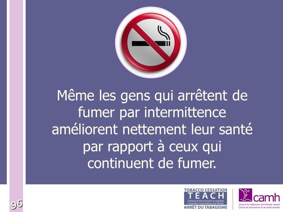96 Même les gens qui arrêtent de fumer par intermittence améliorent nettement leur santé par rapport à ceux qui continuent de fumer.