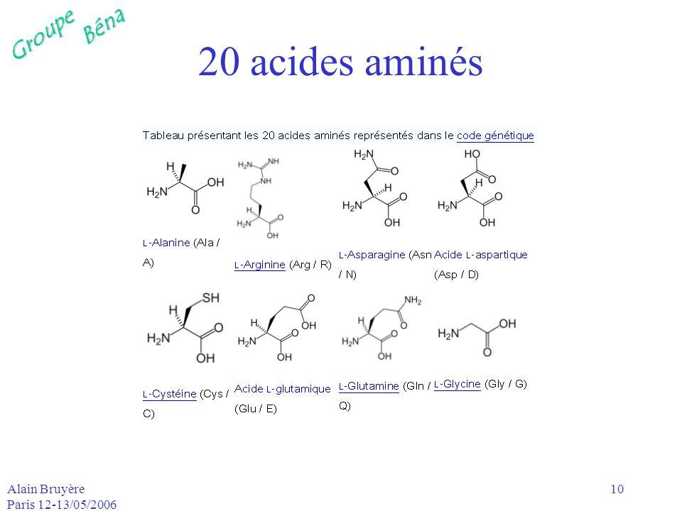 GroupeBéna Alain Bruyère Paris 12-13/05/2006 10 20 acides aminés