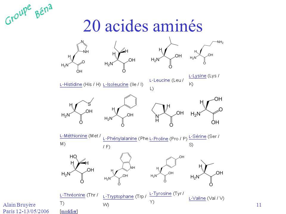 GroupeBéna Alain Bruyère Paris 12-13/05/2006 11 20 acides aminés