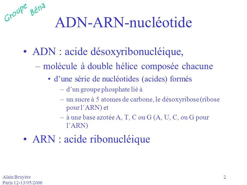 GroupeBéna Alain Bruyère Paris 12-13/05/2006 2 ADN-ARN-nucléotide ADN : acide désoxyribonucléique, –molécule à double hélice composée chacune dune sér