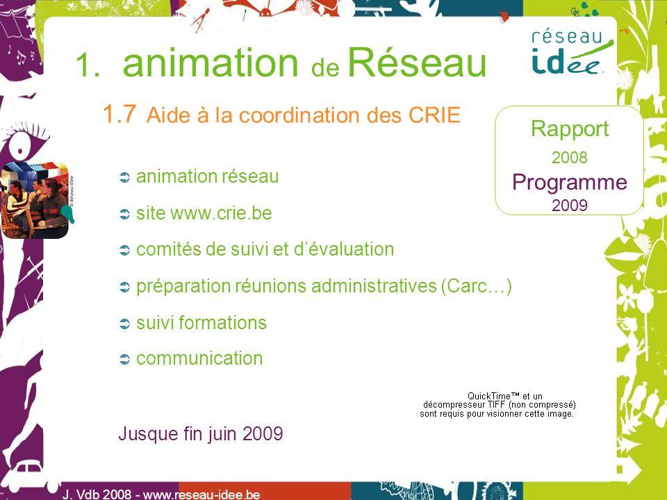 Rapport 2008 Programme 2009 1. animation de Réseau J. Vdb 2008 - www.reseau-idee.be animation réseau 1.7 Aide à la coordination des CRIE communication