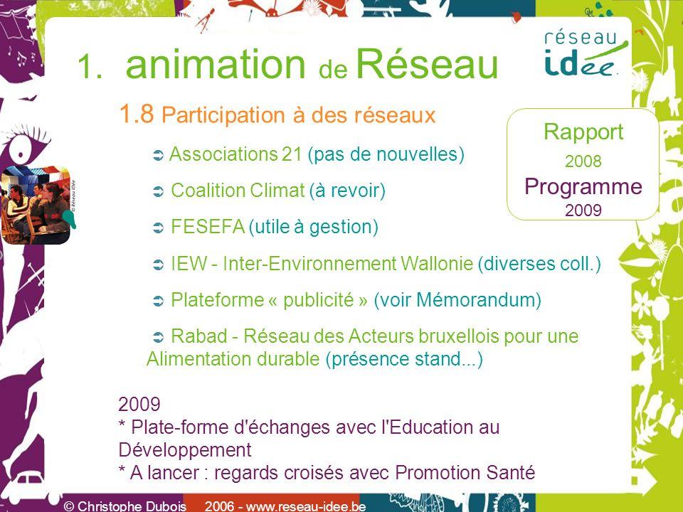 Rapport 2008 Programme 2009 © Christophe Dubois 2006 - www.reseau-idee.be 1. animation de Réseau 1.8 Participation à des réseaux Associations 21 (pas