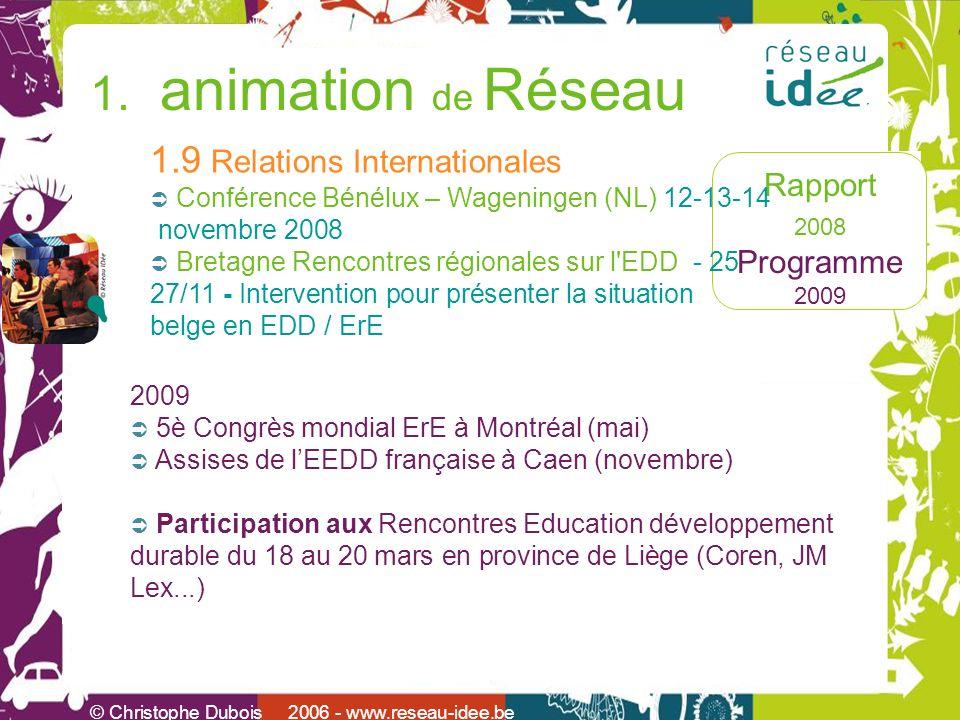 Rapport 2008 Programme 2009 © Christophe Dubois 2006 - www.reseau-idee.be 1. animation de Réseau 1.9 Relations Internationales Conférence Bénélux – Wa