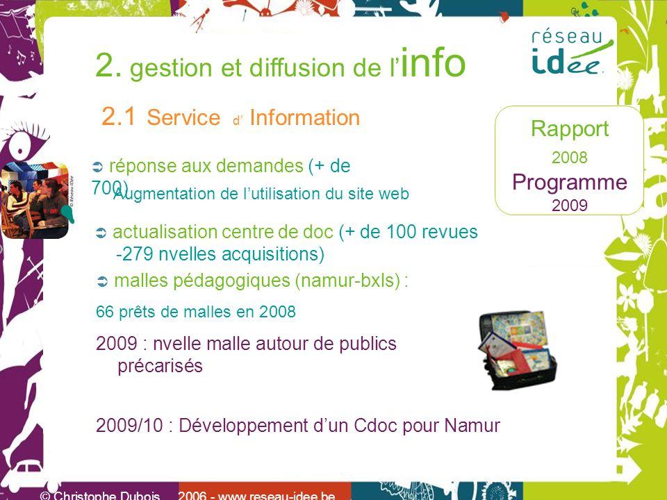 Rapport 2008 Programme 2009 2. gestion et diffusion de l info © Christophe Dubois 2006 - www.reseau-idee.be 2.1 Service d Information actualisation ce
