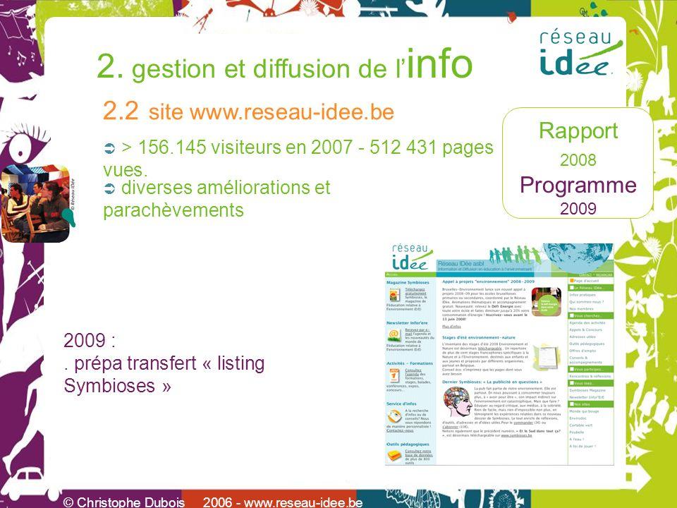 Rapport 2008 Programme 2009 2. gestion et diffusion de l info © Christophe Dubois 2006 - www.reseau-idee.be > 156.145 visiteurs en 2007 - 512 431 page