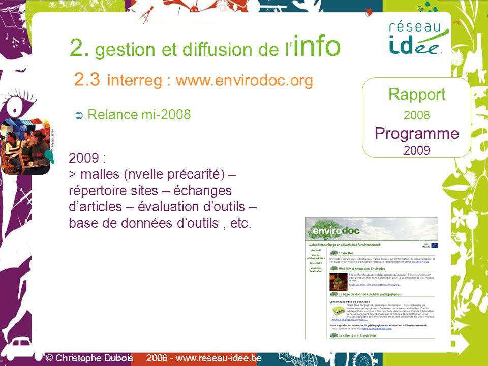 Rapport 2008 Programme 2009 2. gestion et diffusion de l info © Christophe Dubois 2006 - www.reseau-idee.be Relance mi-2008 2.3 interreg : www.envirod