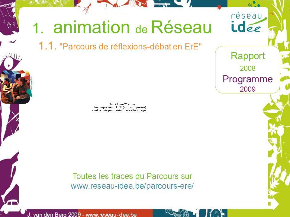 Rapport 2008 Programme 2009 1. animation de Réseau J. van den Berg 2009 - www.reseau-idee.be 1.1.