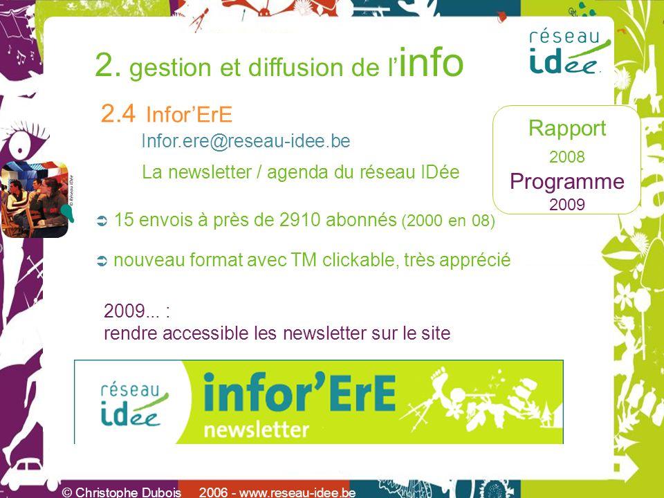 Rapport 2008 Programme 2009 2. gestion et diffusion de l info © Christophe Dubois 2006 - www.reseau-idee.be 15 envois à près de 2910 abonnés (2000 en
