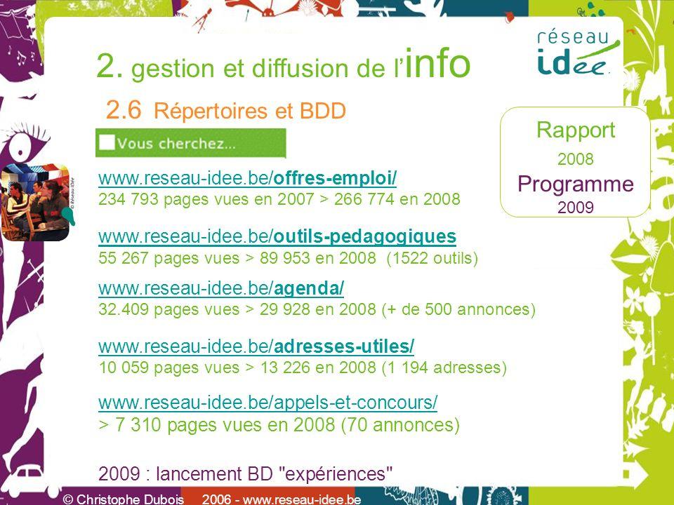 Rapport 2008 Programme 2009 2. gestion et diffusion de l info © Christophe Dubois 2006 - www.reseau-idee.be 2.6 Répertoires et BDD www.reseau-idee.be/