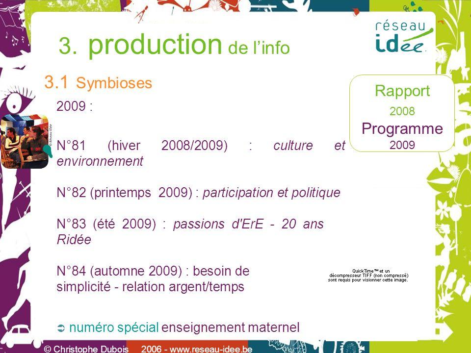 Rapport 2008 Programme 2009 © Christophe Dubois 2006 - www.reseau-idee.be 3. production de linfo 3.1 Symbioses 2009 : N°81 (hiver 2008/2009) : culture